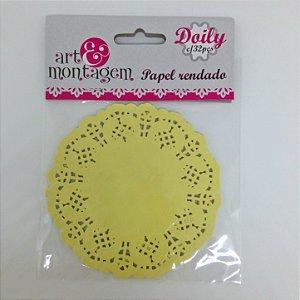 Toalhas rendadas doily 10cm - Amarelo - Art & Montagem