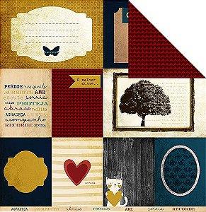 Papel para scrapbook - 30x30 Coleção Família para sempre - Vida - Juju Scrapbook