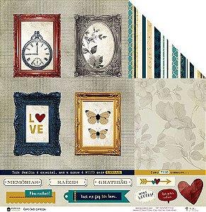 Papel para scrapbook - 30x30 Coleção Família para sempre - Como tudo Começou - Juju Scrapbook