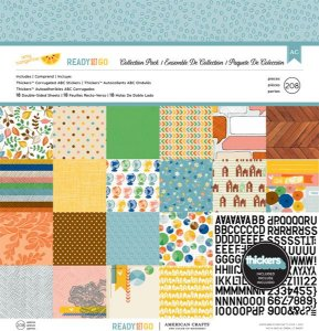 Kit Papel Scrapbook e Adesivos- Ready Set Go - American Crafts