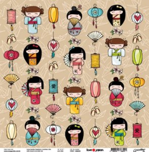 Papel de scrapbook Kokeshi - Love Japan - Goodies