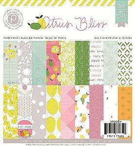 Bloco de papéis para scrapbook 15x15 cm - Citrus Bliss - Pink Paislee