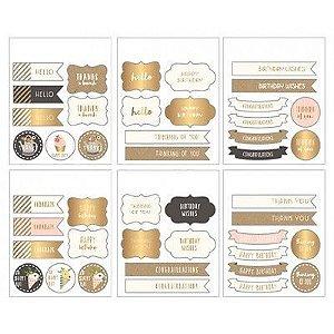 Adesivos com Foil dourado 6 cartelas - Pebbles