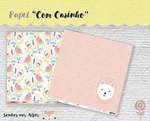 Papel para scrapbook - 30x30 Coleção Sonhos nos Alpes - Com Carinho - Juju Scrapbook