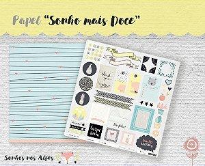 Papel para scrapbook - 30x30 Coleção Sonhos nos Alpes - Sonho mais Doce - Juju Scrapbook