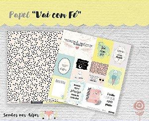 Papel para scrapbook - 30x30 Coleção Sonhos nos Alpes - Vai com Fé - Juju Scrapbook