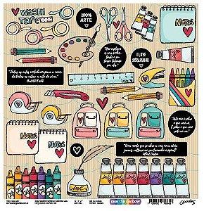 Papel scrapbook 30x30 Colours - Linha Over The Rainbow - Goodies