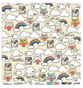 Papel scrapbook 30x30 Fly me to the clouds - Linha Over The Rainbow - Goodies