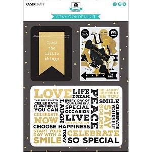 Kit de cards, die-cuts e adesivos Stay Golden - Kaisercrafts