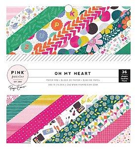 Bloco de papel para scrapbook 15x15 Oh My Heart Pink Paislee