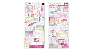 Adesivo 30x30 com Foil Summer Lights Pink Paislee