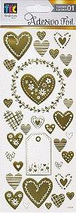 Adesivos Foil dourado Corações Delicados - Toke e Crie