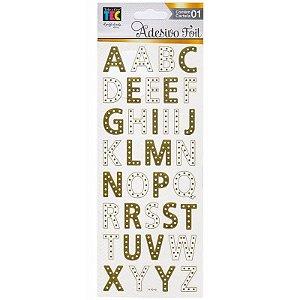Adesivos Foil dourado Alfabeto - Toke e Crie