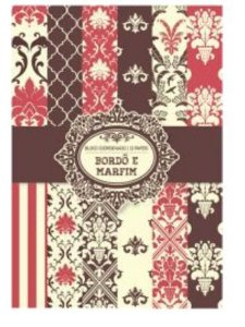 Bloco de papéis coordenados scrapbook Bordô e Marfim - Arte Fácil