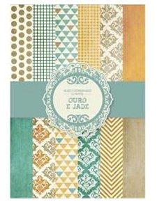 Bloco de papéis coordenados scrapbook Ouro e Jade - Arte Fácil