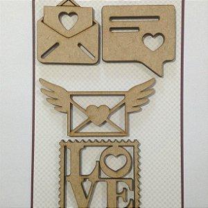 Apliques em MDF Corações Selos - Arte Fácil