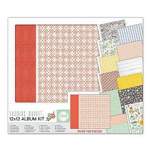 Kit completo para scrapbook - Álbum + papéis + adesivos - Farmers Market - We R
