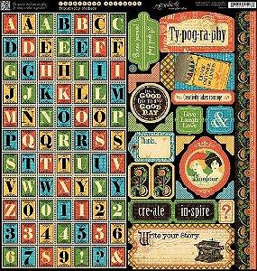 Adesivo 30x30cm  -Typograph - Graphic 45