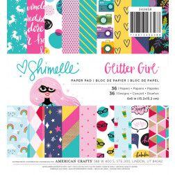 Bloco de papéis 15x15 Glitter Girl Shimelle