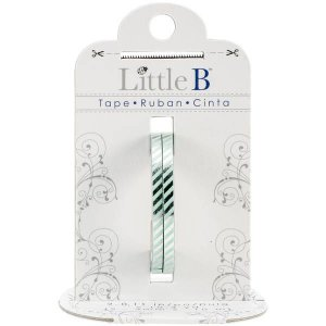 Washi tape - Little B (kit com 2) - Silver Foil Diagonal Stripes