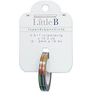 Washi tape - Little B (kit com 2) -  Multi Squares Silver Foil