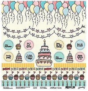 Papel de scrapbook Parabéns - Celebrar é viver - Goodies