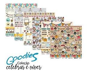 Kit 6 Papéis de scrapbook coleção Celebrar é viver - Goodies