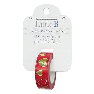 Washi tape Vermelho Corações Dourado com foil - Little B