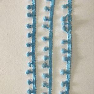 Fita pompom 8mm Azul bebê - 1 METRO - Art & Montagem