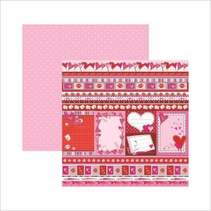 Papel scrapbook 30x30 Dupla Face Amor Puro Barrinhas   TEC