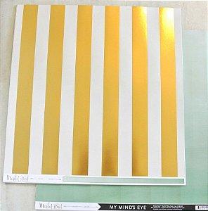 Papel Scrapbook 30x30 Dupla Face - Nob Hill com Foil - Market Strees - MME