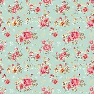 Papel scrapbook 30x30 Dupla Face Floral e Renda Arte Fácil