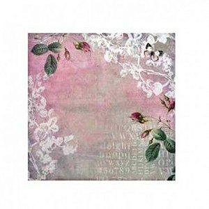 Papel para scrapbook - 30x30 Flores 5   - Arte Fácil