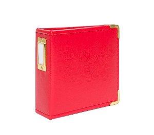 Álbum com plásticos 10x10cm couro sintético Vermelho - Studio Calico