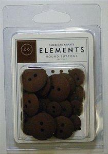 Botões  Marrom Chestnut com 24 peças - American Crafts