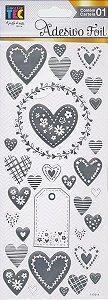 Adesivos Foil prateado Corações Delicados - Toke e Crie