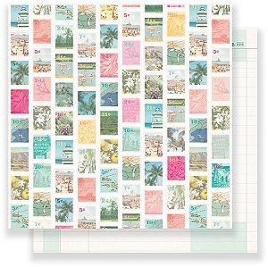 Papel Scrapbook 30x30 Dupla Face - Postcard - Oasis - Crate Paper