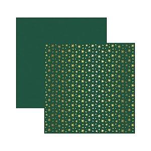 Papel Scrapbook - Metalizado - Estrelas Natal Verde - Toke e Crie
