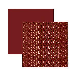 Papel Scrapbook - Metalizado - Estrelas Natal Vermelho - Toke e Crie