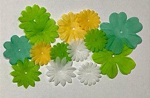 Flores de tecido 16 peças - Lucy Bird- Sweetie Flowers -  Imaginisce