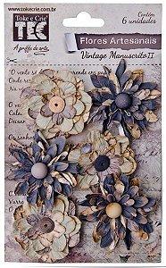 Flores Artesanais Vintage Manuscrito II Gris - Toke e Crie