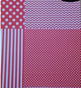 Kit 4 papéis de scrapbook 30x30 Vermelho Estampas - Toke e Crie