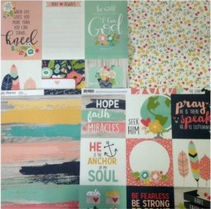 Kit 4 Papéis de scrapbook Faith Aquarela - Simple Stories