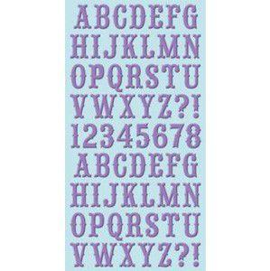 Adesivo em chipboard 15x30 alfa com glitter Lavender Cosmo Cricket