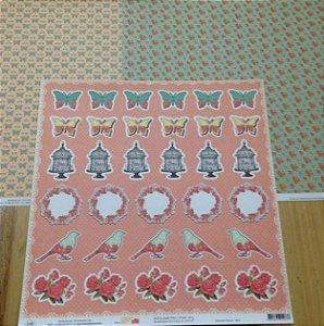 Kit 3 Papéis de scrapbook Borboletas e Flores - OK