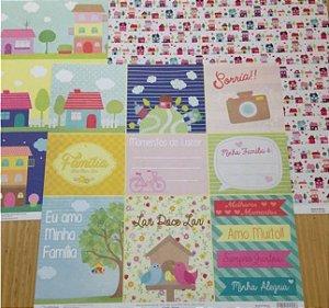 Kit 3 Papéis de scrapbook Família - Oficina do Papel