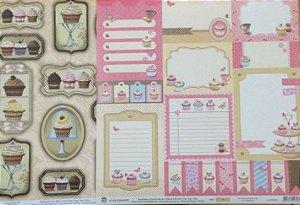 Kit 2 Papéis de scrapbook Cupcake - TEC
