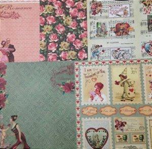 Kit 5 Papéis de scrapbook 30x30 Romance - Arte Fácil