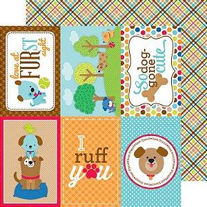 Papel de scrapbook 30x30 Puppy Love -  Plaid to the bone -  Doodlebug