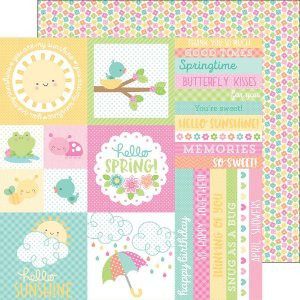 Papel de scrapbook 30x30  - Spring Things - Baby Blooms - Doodlebug